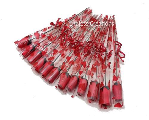 Unique 12 ROUGE en BOIS roses en Violoncelle Manches attaché avec ruban rouge-Valentine /'s