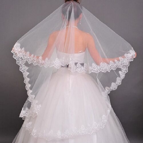 2-Layers Beauty White Wedding Bride Veils Lace Bridal Accessories TS2112 HFUS