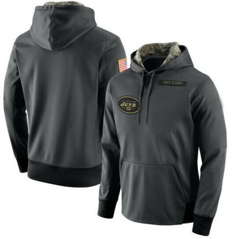 Details about  /Men/'s New York Jets Anthracite Salute Service Sideline Therma Pullover Hoodie