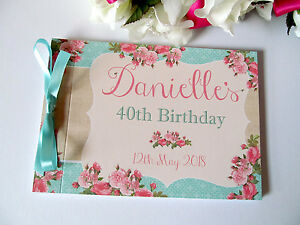 Personalised Baby Shower Birthday Party Guest Book Shabby Chic