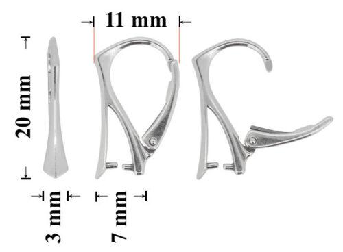 Sterling Silver Leverback Boucles d/'oreilles avec Pinch Bail 20x11mm
