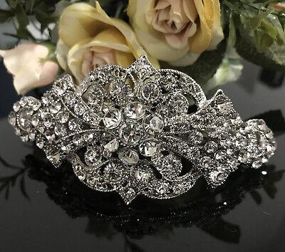 Silver tone with Clear rhinestone crystal hair barrettes metal hair clip ha1701
