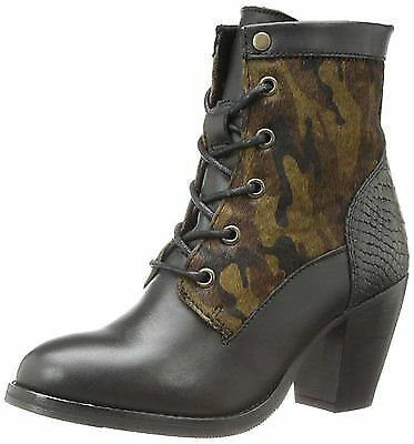 BRONX USA MAR LIANA LACE UP STACKED HEEL CHELSEA BOOT CAMOUFLAGE ARMY BOOTS I42