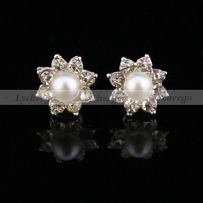 Girls Cute Pearl Crystal Rhinestone Flower Ear Stud Earrings Fashion New 1 pair