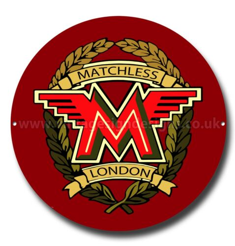 """MATCHLESS MOTORCYCLES 11/"""" ROUND METAL SIGN,VINTAGE MOTORCYCLE,CLASSIC MOTORCYCLE"""