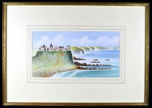 Original-Irish-Art-Watercolour-Painting-Signed-c1930-Dunluce-Castle-Co-Antrim