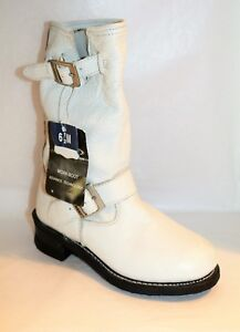 Xelement-Brand-Womens-White-Leather-Work-Motorcycle-Boots-Size-6-5-NEW