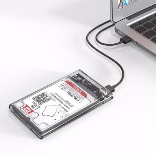 2.5/'/' 5Gbps Transparent USB3.0 HDD Case Free Hard Drive Enclosure Storage Box