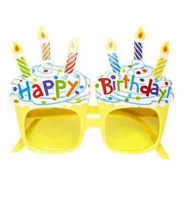Happy Birthday Cake A Forma Di Occhiali Specifiche Fancy Dress Toy Giallo Novità Muffin-mostra Il Titolo Originale