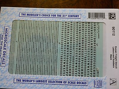 Microscale Decal #90112 Roman Freight Stencil Letters and Numbers - Black - 1:87