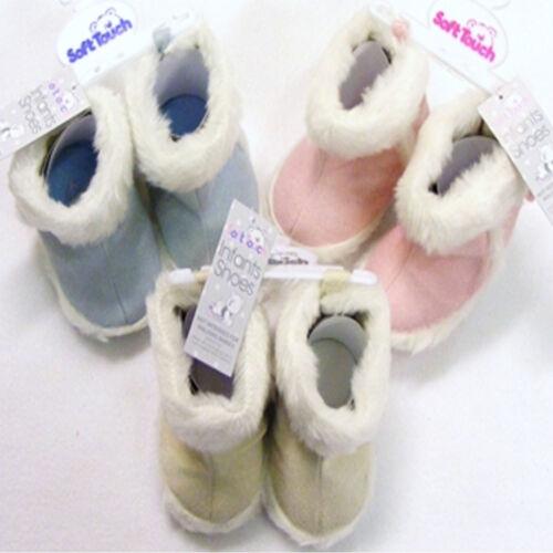 Bébé fourrure Bottes d/'Hiver Chaudes bootees rose ou bleu ou crème 6mths à 15mths