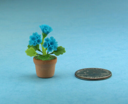 Beautiful 1:12 Scale Dollhouse Miniature Potted Teal Blue Carnations #FL021B
