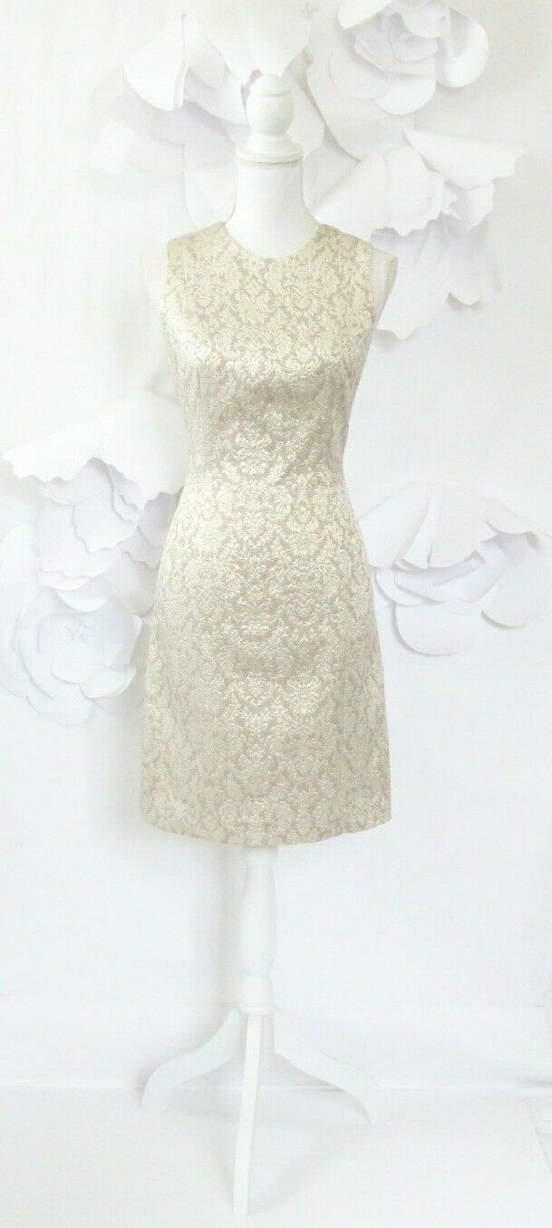 Tracy Reese Jacquard Brocade Cocktail Dress Woherren 8 Gold Sleeveless Party