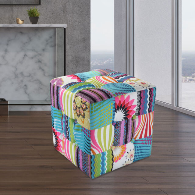 Patchwork Seat Cube Living Children Room Decoration Textile Furniture  Colorful