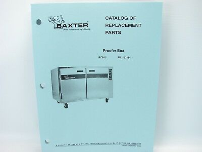 Baxter Proofer Box PC800 Catalog Of Replacement Parts Manual EBay