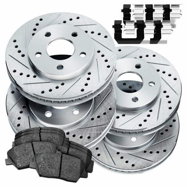For 2015-2018 Acura TLX Front Rear eLine Drill Slot Brake Rotors+Ceramic Pads