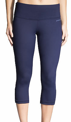 Brooks Greenlight 3/4 Capri Womens Running Tights Blue Gym Sports Workout