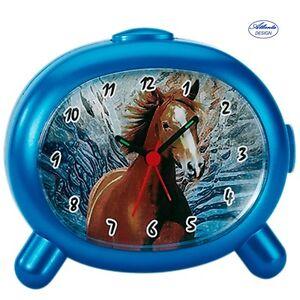 Atlanta-1183-P-Despertador-NINOS-Caballo-Cuarzo-Azul-Para