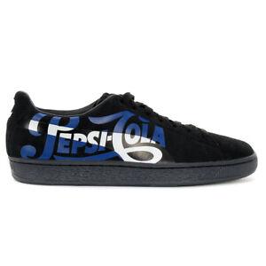 PUMA Men's Suede Classic X Pepsi Black/Silver Shoes 36633202 NEW!