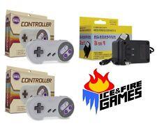 SNES Bundle: 2 Classic Controllers + AC Adapter Power Cord (Super Nintendo)