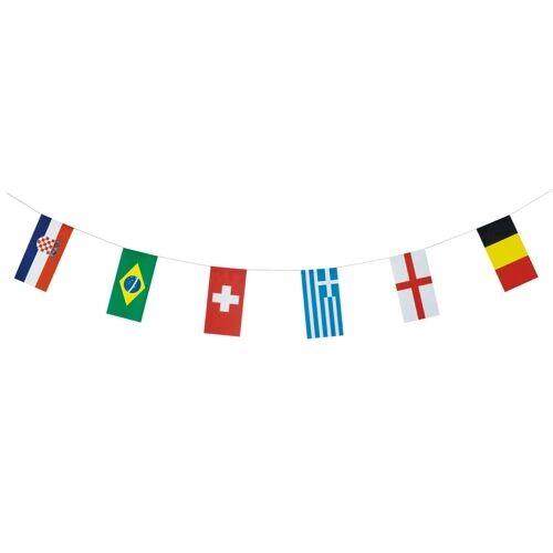 10 Flaggenketten Papier 10 m  32 Nationen   schwer entflammbar Deko Fussball WM