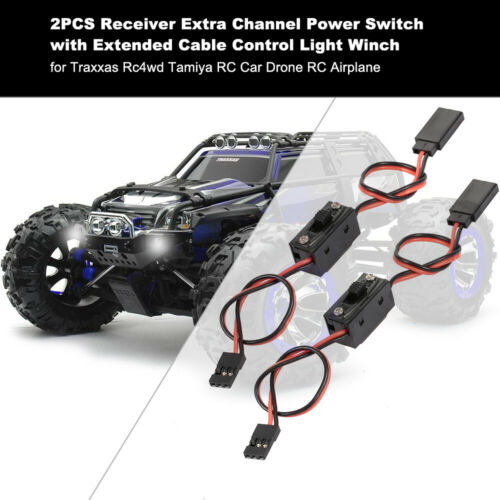 2PCS Receiver Extra Channel Extended Cable w//Power Switch for 1//10 1//8 Traxxas