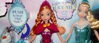 "Disney Frozen Musical Magic Elsa Anna 12"" Light Up Dolls & Talking Olaf Gift Set Toys"