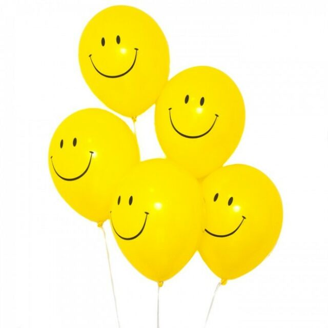 """90s Party Decorations - 10 Smiley Face Acid House Balloons - 12"""" Helium Quality"""