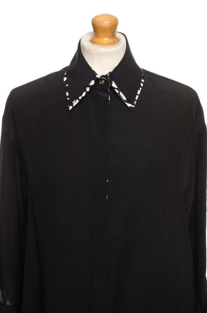Vtg Versace Hemd BlauSE 100% Seide UK 10 Uns 8 Eu 36 Fr 38 es 42 Neuwertig