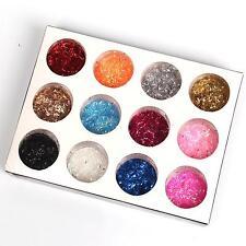 12 Mix Color Lustroso pequeño purpurina láser Tiras SET para decoración de uñas