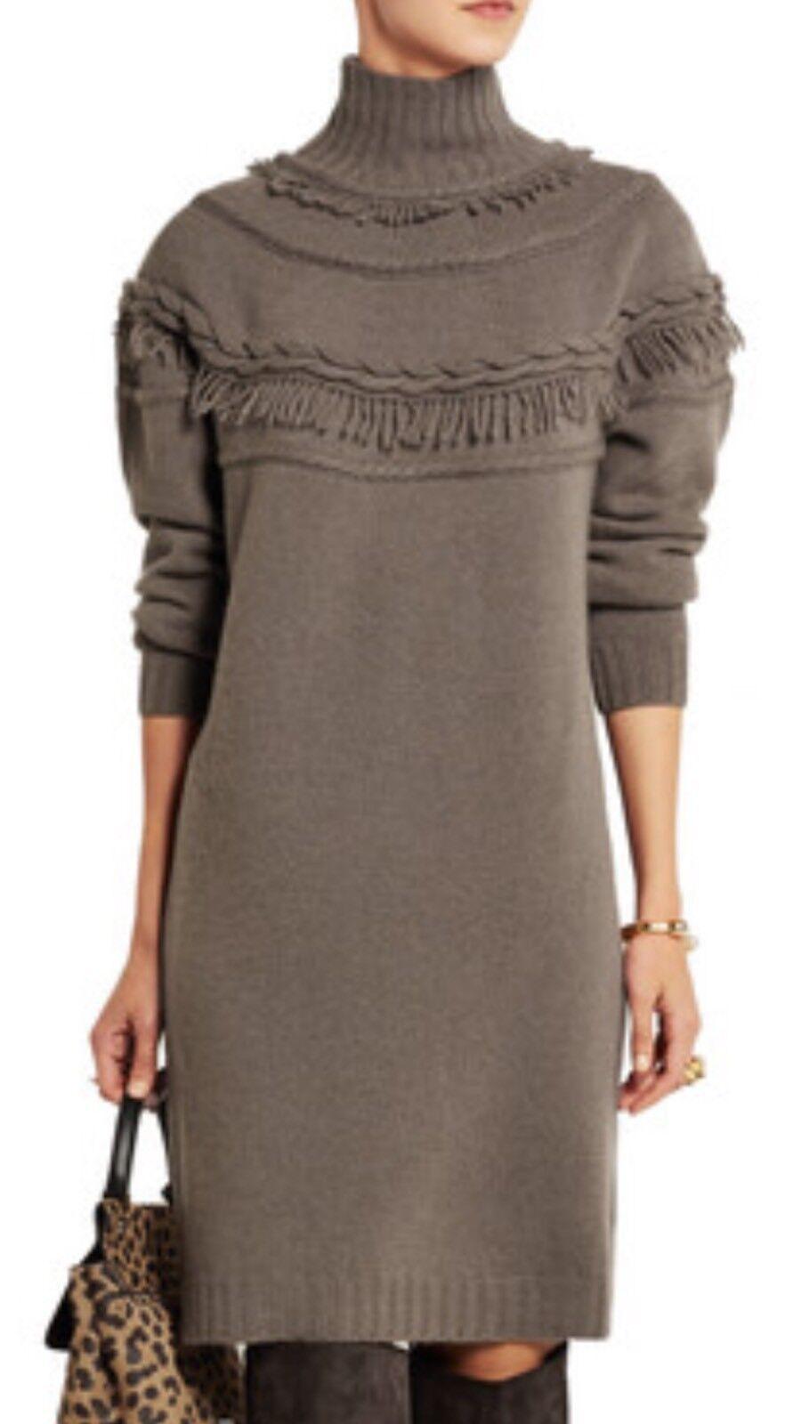 Agnona Womens Cashmere Blend  Fringe Sweater Dress, 42