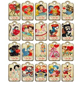 20 Valentine vintage inspired party tags with silk ribbon