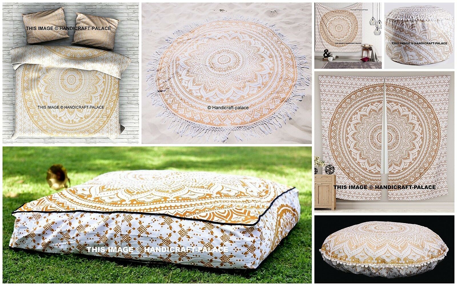 Indian Mandala Duvet Set Tapestry Floor Pillow Curtain Round Dog Bed Room Set