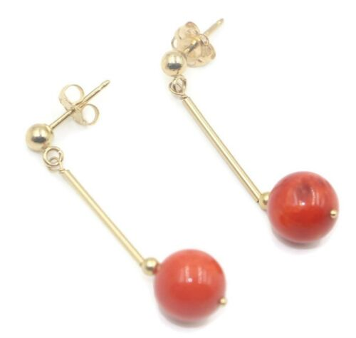 Coral Round Dangle Earrings,14K Yellow Gold Post and Push Backs