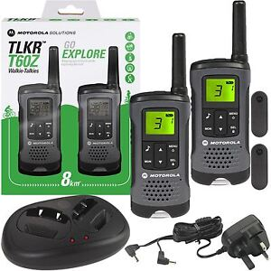 Motorola TLKR T60Z Walkie Talkie PMR446 5m Radio Rechargeable Twin Pack +Charger 5031753007041 ...