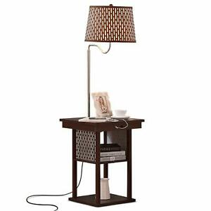 Details About Bedside Table With Led Floor Lamp Attached Nightstand Shelves Usb Port Brown