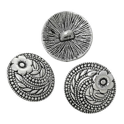 10 Antique Silver Metal Carved Pattern & Flower Design Sewing Buttons 17mm