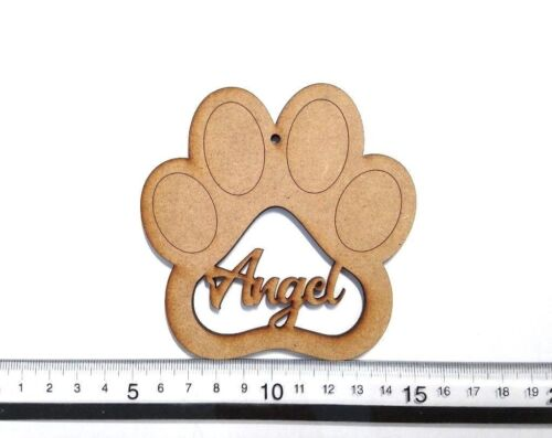 4mm Thick- 10cm x 10cm Bauble Personalised Paw Print MDF Paw Print Hanger
