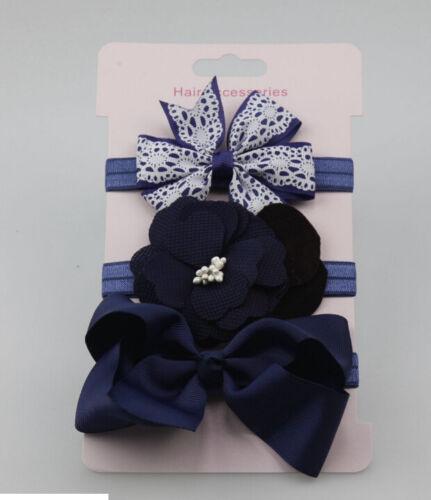 3x//Set Newborn Girl Bow Headband Ribbon Elastic Baby Headdress Kids Hair Band MW