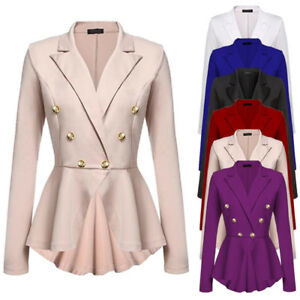 Womens-Double-Breasted-Gold-Button-Military-Style-Blazer-Ladies-Coat-Jacket-Nice