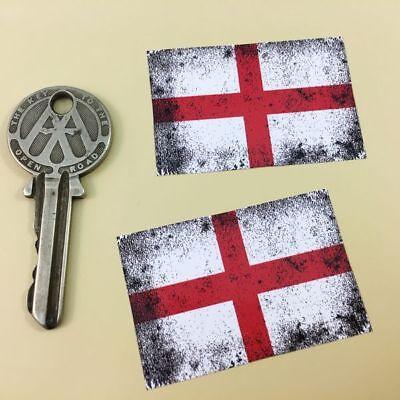 Union Jack Flag Dirty /& Faded Car Motorcycle Stickers 50mm Pair GB UK Helmet