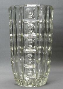 Grosse-schwere-boehmische-Art-Deco-Vase-Formgeblasen-Klarglas-Praegestempel-26-cm