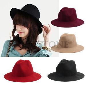 Vintage-Ladies-Women-Wide-Brim-Wool-Felt-Hat-Floppy-Bowler-Fedora-Cap