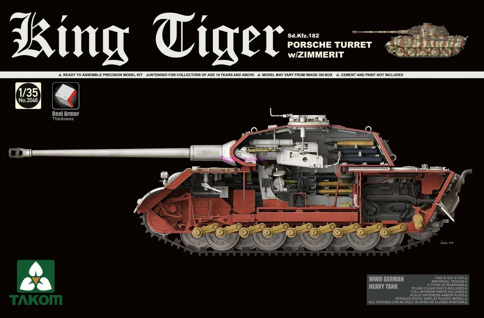 Takom 2046 1 35 Sd.Kfz.182 King Tiger Porsche Turret w Zimmerit