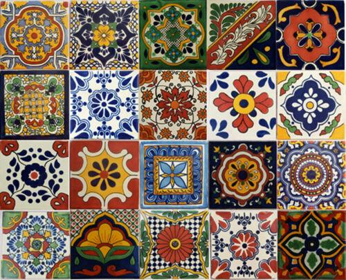 20 PCS Talavera 6X6 Handmade Ceramic Tile Mexican Assorted