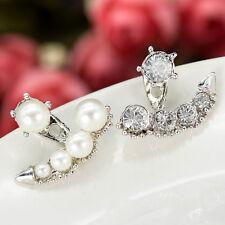 Women Pearl Crystal Rhinestone Ear Ear Stud Earrings Jewelry Gift New Fashion
