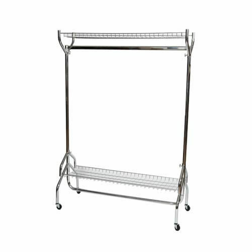 4ft CLOTHES GARMENT RAIL in Chrome with 2 Shelves for Extra Storage    1152-1