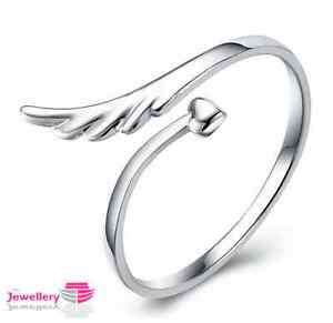 925 Sterling Silver Angel Wing and Heart Ring Jewellery Womens ... 15813e53cc