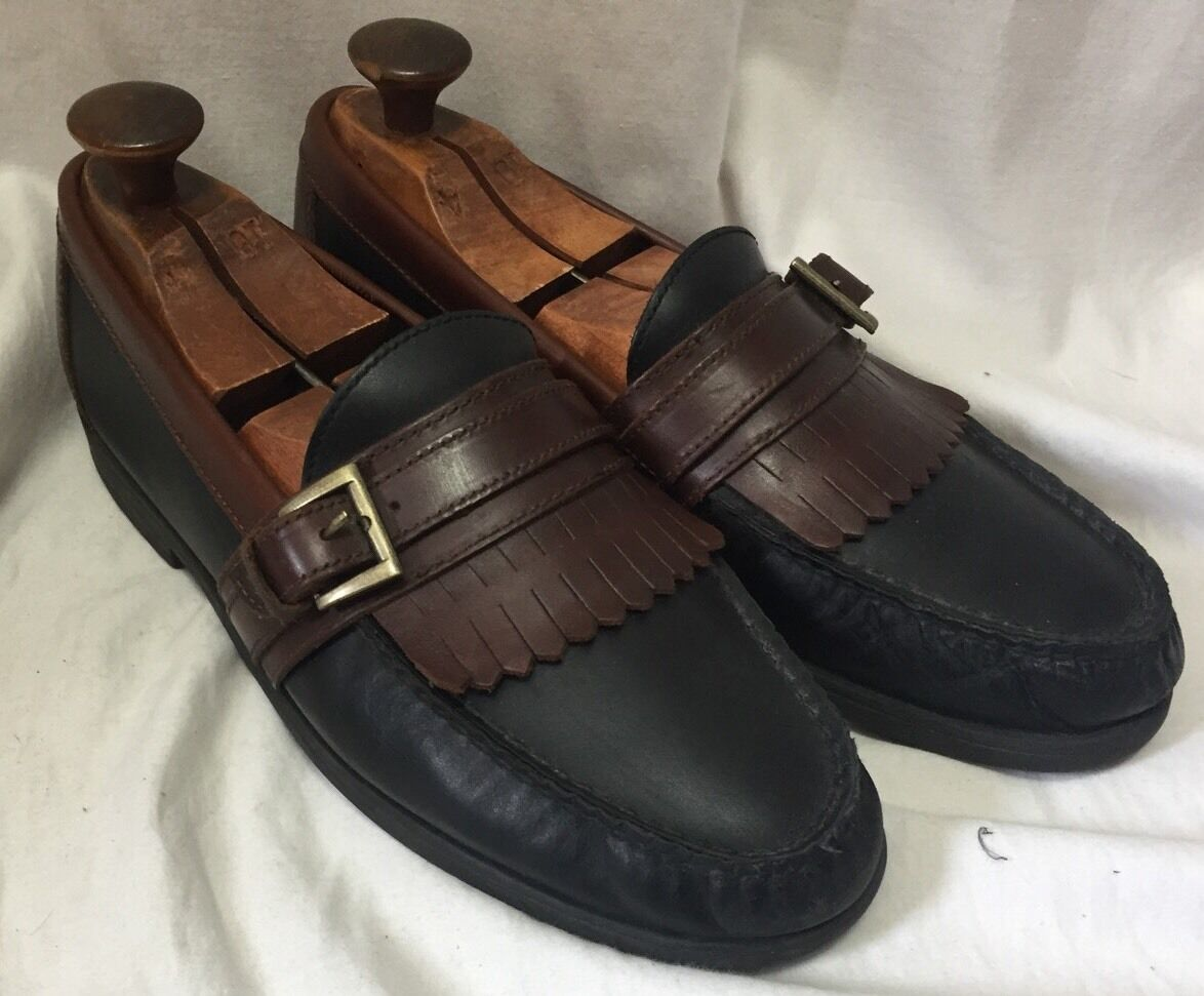 Sperry Top Sider Mens Black 9.5M Brown Leather Penny Loafers0723543 Kilte Buckle