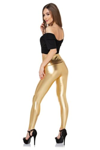 Shiny Wet Look Latex Leggings Imitation Leather Silver Gold High Waist /& Classic